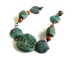 Copper and clay bracelet turquoise rustic clay by agatechristina, $24.00