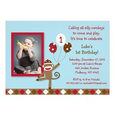 Custom Personalized Photo Sock Monkey Balloon Photo Birthday Invitations