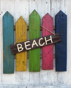 Rustic Beach & Welcome Sign Hanging On A Picket Fence (2 for 1 sign) by LowerArkCrafts on Etsy