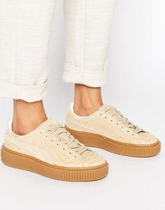 puma platform sneakers in off white croc | asos