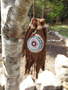 Ojibwe Beaded Leather Medicine Pouch by FourWindsWoven on Etsy