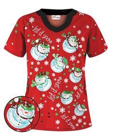 UA Twirling Snowmen Red Scrub Top - Style # H198TSR #uniformadvantage #uascrubs #holidayscrubs