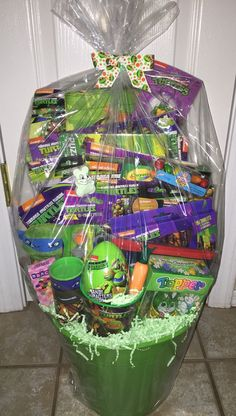 Filled Easter Basket Teenage Mutant Ninja by GingerellasBows Filled Easter Baskets, Easter Gift Baskets, Diy Gifts, Best Gifts, Easter Games, Balloon Gift, Candy Bouquet, Easter Party, Christmas 2017