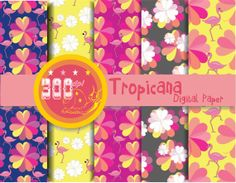 Party digital paper 'tropicana' #luau digital paper, for your party invitations and card making . #scrapbooking