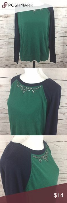 "-Merona- Beaded Neckline Crewneck Sweater Great Women's Green Blue Color Block Sweater with an Embellished Neckline - Long Sleeve 53% Cotton; 40% Rayon; 7% Nylon  Hand Wash Cold; Lay Flat to Dry  Chest: 42""  Length: 23""  Condition: Gently used condition; no stains, holes or tears  Please review pictures for product details.  Thank you for looking! Merona Sweaters Crew & Scoop Necks"