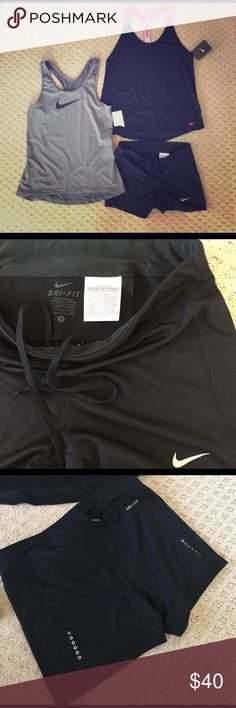 NIKE WORKOUT SHORTS AND TOPS BUNDLE All brand new. Shorts no tags. Gray top is a medium but but stretchy tight fit so it definitely will fit a small.  Black top is a small. Lose fit.  These are a little too tight on me for my comfort. Nike Tops Tank Tops