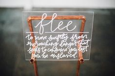 Acrylic and copper pipe event sign with calligraphy by POPPYjack Shop  // featured on 100 Layer Cake
