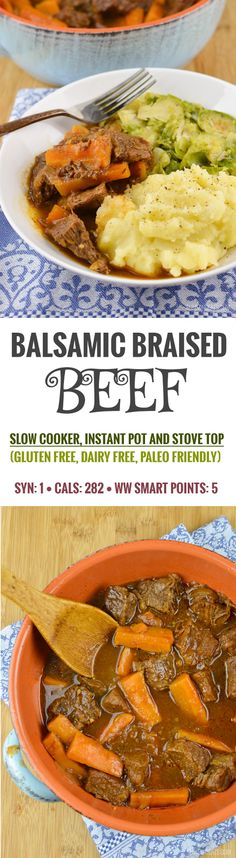 Slimming Eats Balsamic Braised Beef - gluten free dairy free paleo slow cooker instant pot Weight Watchers and Slimming World friendly Slimming Eats, Slimming World Recipes, Slimming World Stew, Slimming Word, Braised Beef Slow Cooker, Paleo Recipes, Cooking Recipes, Lean Recipes, Protein Recipes