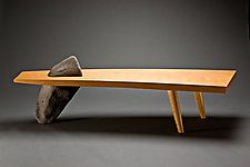 Wood & Stone Bench by Seth Rolland