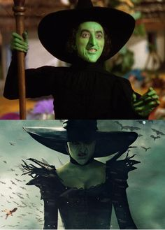 Wicked Witch: (Margaret Hamilton, top and Mila Kunis, bottom) Wizard Of Oz Movie, Wizard Of Oz 1939, I Movie, Margaret Hamilton, Perfectly Timed Photos, Land Of Oz, The Worst Witch, Yellow Brick Road, Witch Art