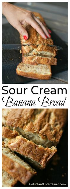 Sour Cream Banana Bread Banana Bread Sour Cream, Moist Banana Bread Recipe Sour Cream, Sour Bread Recipe, Banana Walnut Bread Moist, Chocolate Sour Cream Cake, One Banana Banana Bread, Oat Flour Banana Bread, Banana Bread Cupcakes, Sour Cream Scones