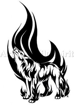 Howling_Flame_Wolf_Tattoo_by_WildSp