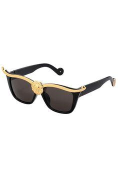 Gold Lion Head Embellished Black Sunglasses