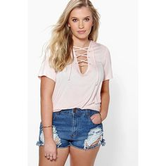 Boohoo Plus Plus Jessica Tie Front T-Shirt ($24) ❤ liked on Polyvore featuring tops, t-shirts, pale pink, crop tee, high neck crop top, pink t shirt, basic long sleeve tee and ribbed tee