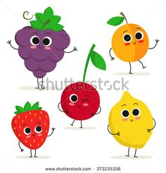 Adorable collection of five cartoon fruit characters isolated on white: grape, apricot, strawberry, cherry and lemon - stock vector