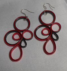 Red and Black. Medium Circles and Teardrops 3E by RheasOriginals