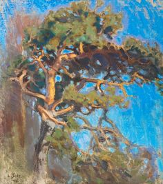 Big Fir Tree by Lennart Segerstråle Painter Artist, Fir Tree, Tree Forest, Landscape Paintings, Landscapes, Tree Art, Beautiful Paintings, Contemporary Artists, Art For Sale