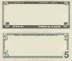 Photo about Clear 5 dollar banknote pattern for design purposes. Image of note, empty, message - 21423238 Play Money Template, Id Card Template, Bill Template, 5 Dollar Bill, Dollar Money, 100 Dollar, Homework App, Money Frame, Payroll Template