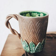 carve leaves and glaze it green