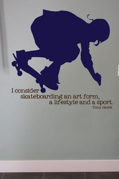 Skateboard Decal with Tony Hawk Quote - Teen Vinyl Wall Decal  Art Decor Lettering Sports. $25.00, via Etsy. #Christmas #thanksgiving #Holiday #quote