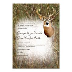 Rustic Camo Hunting Deer Antlers Wedding Invitation for a hunting themed wedding.  http://www.zazzle.com/rustic_camo_hunting_deer_antlers_wedding_invites-161479759900908299?rf=238133515809110851