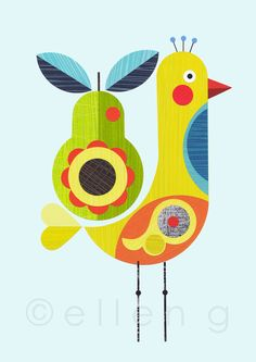 yellow+bird+with+pear+print+by+EllenGiggenbach+on+Etsy,+$18.00