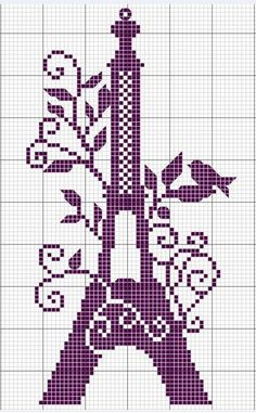 Eiffel tower serving as a bird perch free cross stitch pattern