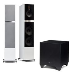 MartinLogan Motion Speakers with Free Dynamo Sub-Audio Advisor High End Speakers, Tower Speakers, High End Audio, Perfect Live, Class D Amplifier, Powered Subwoofer, Grey Trim, Loudspeaker, Apple Tv