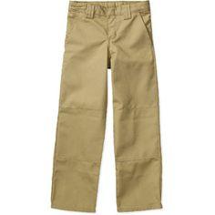 Nautica Kids Boys Slim Flat Front Twill Double Knee Pants Big Kids