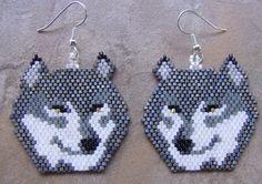 Grey Wolf Head Hand Made Seed Beaded | wolflady - Jewelry on ArtFire