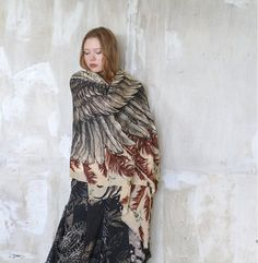 Wings scarf, Cashmere bohemian feathers scarf, Earthy, Hand painted, digital print, stunning unique and useful, perfect gift