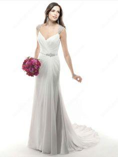 Sheath/Column Off-the-shoulder Chiffon Court Train Rhinestone Wedding Dresses
