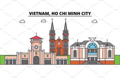 Vietnam, Ho Chi Minh City outline skyline, vietnamese flat thin line icons, landmarks, illustrations. Vietnam, Ho Chi Minh City cityscape, vietnamese travel city vector banner. Urban silhouette by urban icon on @creativemarket