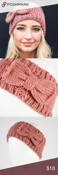 """Pink Rose Knit Headband Stay warm during the crisp days of fall and the chilly days of winter. Gray Bow Knit Headband ear warmer. 100% Polyester Dimension 18"""" Round Knit Stretch 4.5"""" Width   more colors available in my closet! Cream, Burgundy Wine, Rose Pink, Charcoal Gray Accessories Hats"""
