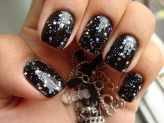 Nail art black with sparkle