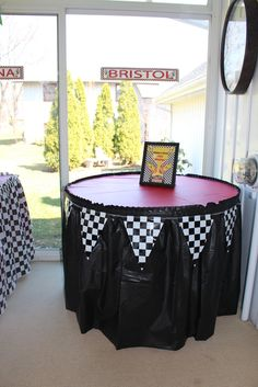 The church has black tablecloths we used last year on the serving tables. We could maybe use those again, and purchase these pennants to go around them? Nascar Party, Race Party, Hot Wheels Party, Hot Wheels Birthday, Race Car Birthday, Car Themed Parties, Cars Birthday Parties, 50th Birthday Party, Birthday Ideas