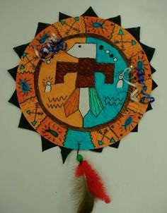 4th grade Native American Shield art lesson, with complementary colors and symmetry.