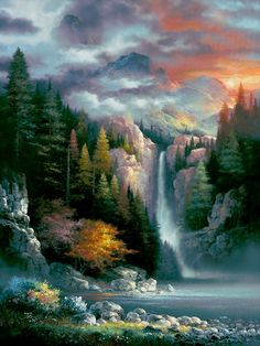 Global Gallery Misty Falls' by James Lee Painting on Wrapped Canvas Size: Fall Canvas Art, Waterfall Paintings, Pictures To Paint, Stretched Canvas Prints, Pretty Pictures, Beautiful Landscapes, Landscape Paintings, Beautiful Places, Original Paintings