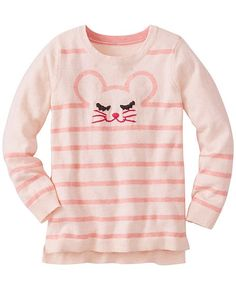 We love the supercrafting of intarsia knit critters that go from front to back without a squeak. Warm cotton and Merino wool sweater is so extra-fun that she might want to wear it every single day. Great idea.