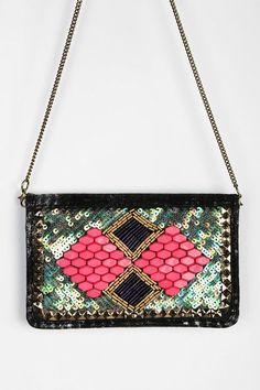 Ecote Bead-Embellished Chain-Strap Wallet #urbanoutfitters