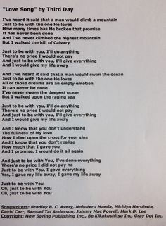 """Lyrics to """"Love Song"""" by Third Day < first song i remember falling in love with"""