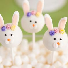 Loving the Easter Bunny cake pops at this Easter Party are so so cute!! Love the little flowers decorating them! See more party ideas and share yours at CatchMyParty.com #catchmyparty #easterparty #easterbunny #cakepops