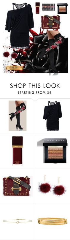"""""""Black fall roses"""" by jaydahontherocks ❤ liked on Polyvore featuring Tom Ford, Bobbi Brown Cosmetics, Prada, Lee Renee and Jane Diaz"""