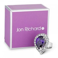 Jon Richard Purple crystal peardrop adjustable ring- at Debenhams.com