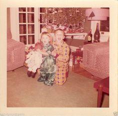 Vintage Snapshot Photo Christmas Brother Sister Boy Girl Raggedy Ann Doll 1960s