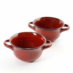 CrockPot 27-Ounce Double Handle Soup Bowls, Set of 2, Red - Walmart.com