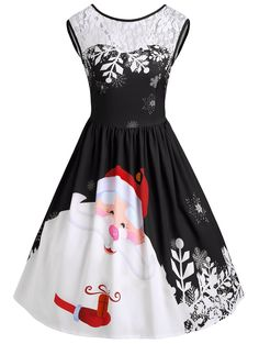 Gobling Fashion Women O-Neck Merry Christmas Lace Insert Santa Claus Print  Party Dress (Color   Red 251aa9a9f98f