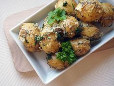 Steamed baby potatoes with dill,parsley and creamy sauce-delicious spring side dish.