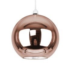 Modern ceiling pendant light shade in a stunning combination of rose gold glass with reflective metallic interior. This superb light shade features a classic globe design which is open at the bottom.   eBay!