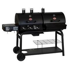 Whether you're after quick, tasty grilling or Texas style smoking, you get your choice of both with the Char-Griller Duo Gas and Charcoal Grill. Both cooking areas have a warming rack, gas grill has a cast side burner for additional cooking capacity and porcelain-coated cast-iron cooking grates for superior heat retention and easy cleaning. The charcoal grill has dual smoke stacks for even heating. Features 40,800 BTU's, heavy steel construction, electronic ignition, and an ea...